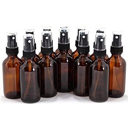 Lot de 12 flacons de pulv/érisation en verre ambr/é de 30 ml avec bouchon en m/étal pour nettoyer laromath/érapie