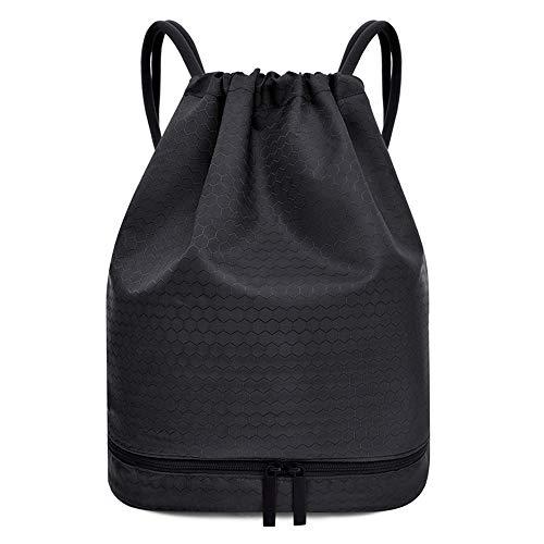 Gsogcax - Bolsas de gimnasio con cordón, impermeable, 20 l, bolsa de polietileno para natación, mochila para escuela, niños, compras, yoga, escuela, playa, fútbol, color negro