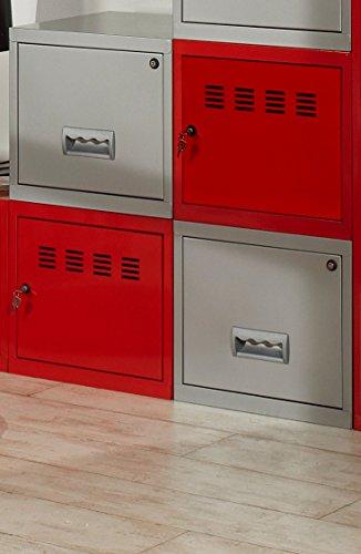 Cube à Porte et Tiroir avec avec Kits de Liaison, Rouge/Aluminium, Lot de 4