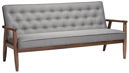 Baxton Studio Sorrento Mid-Century Retro Modern Fabric Upholstered Wooden 3-Seater Sofa, Grey