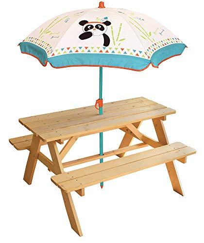 FUN HOUSE 713144 INDIAN PANDA Table Pique Nique en bois avec parasol pour Enfant, Blanc