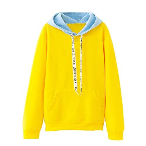 Xmiral Damen Sweatshirt Langarm Warme Farbe Kordelzug Lässige Kapuzenpullover Top Bluse (XL,Gelb)