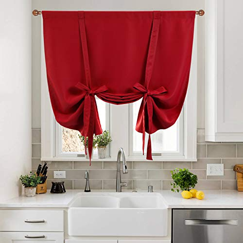 DWCN Tie Up Curtain-Thermal Insulated Room Darkening Blackout Curtains for Kitchen, Bedroom and Bath Room, Red, W42 X L63 Inches, 1 Rod Pocket Panel