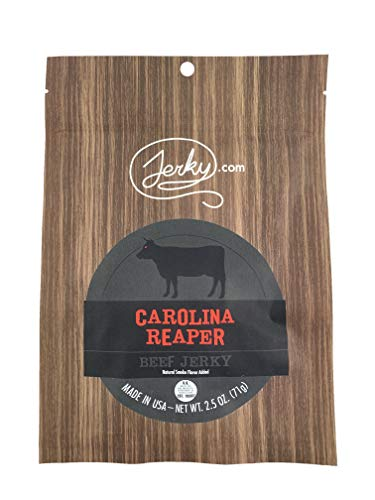 Jerky.coms Carolina Reaper Beef Jerky, Hottest Jerky in the World, 12g of Protein, All-Natural Keto Diet Snack, No Added Preservatives, 2.5 oz. Bag
