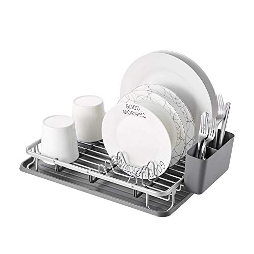 KK KINGRACK Aluminum Dish Drying Rack with Utensil Holder, Drainboard for Kitchen Countertop Dish Drainer 112055