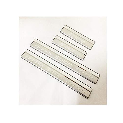 Solicitar para S-cross 2014-19 protectores de umbral de puerta de acero inoxidable, placas de apoyo, protector de placa de desgaste de umbral de puerta, accesorio de decoración de estilo 4 piezas