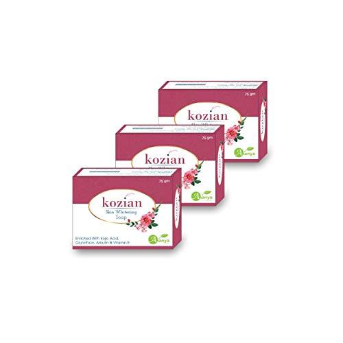 KOZIAN SOAP Kojic Acid, Glutathione, Vitamin C & E, Arbutin , Skin Whitening & Lightening Soap 75gm (Pack of 3)