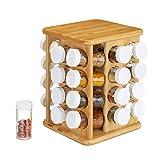 Relaxdays 10024209 Carrousel Bambou, 32 Pots Verre, Présentoir à épices, Organiseur Rotatif,...
