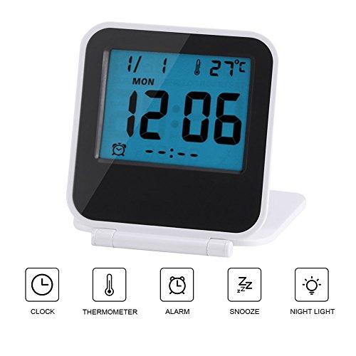 Reloj de Alarma Plegable Portátil Ultra Delgado/ Despertador Digital con Temperatura Calendario Fecha Semana(white)