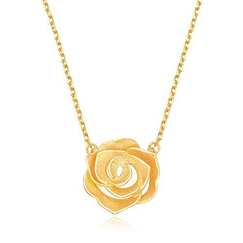 Beydodo Colgantes Mujer Oro 18K Amarillo Flor Rosa 3.74g Collar Oro