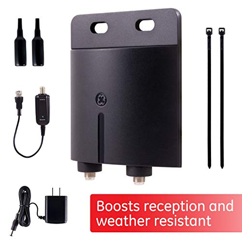 GE Outdoor TV Antenna Amplifier Low Noise Antenna Signal Booster Clears Up Pixelated Low-Strength...