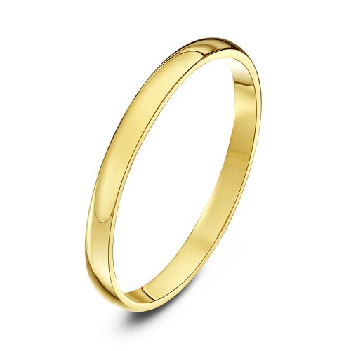 Theia Unisex Heavy Weight 2 mm D Shape 9 ct Yellow Gold Wedding Ring - P