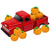 Halloween Mini Farm Truck Decoration Faux Pumpkins Fall Home Decor Red Pullback Truck Car Model Vintage Pickup Metal Decor Set Cast Collectible Autumn Toy Truck for Tiered Tray Bookshelf Table Decors