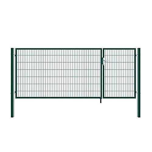Home Deluxe - Doppelflügel Gartentor - inkl. hochwertigem Griff, Schloss, Schlüsseln und Bodenverriegelung - verschiedene Farben und Höhen (120 x 350 cm, grün)
