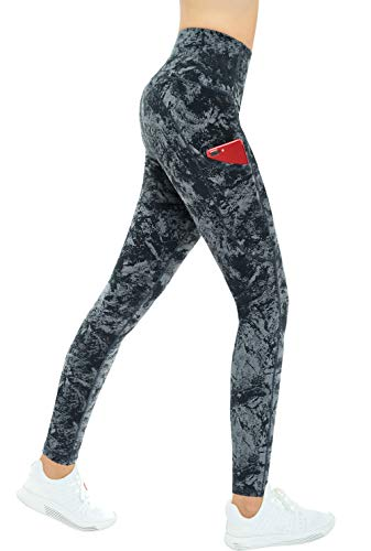 THE GYM PEOPLE Thick High Waist Yoga Pants with Pockets, Tummy Control Workout Running Yoga Leggings for Women (Medium, Gray-Marble)