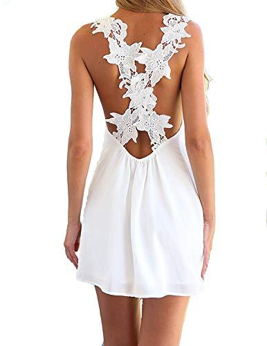 Ovender Vestidos de mujer elegantes ceremonia corta niña vestido mujer vestidos elegante baile novia niña fiesta Color blanco. L