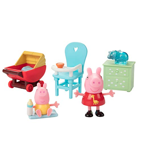 Jazwares Peppa Pig Little Rooms Nursery Playset, 5 Pieces - Includes Peppa Figure, Baby Alexander, High Chair, Buggy & Night Stand - Ages 2+