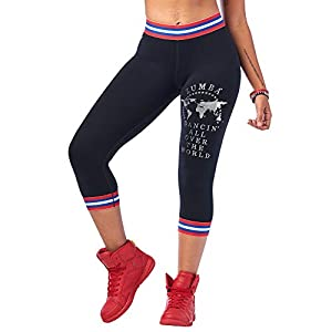 Zumba Wide Waistband Workout Athletic Print Capri Compression Leggings For Women