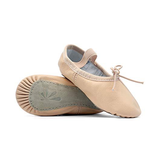 DANCEYOU Balletschläppchen aus Leder Ballettschuhe Pink Gymnastikschläppchen mit Geteilter Sohle/Ganzer Sohle Tanzschuhe für Damen und Kinder 180 EU28