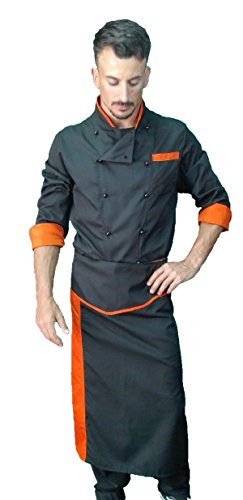 Complet, Uniforme de Chef, Veste Pantalon and Tablier, pour Homme et Femme, Complet de Cuisinier, Veste de Cuisine, Noir et Orange, Made in Italy (M)