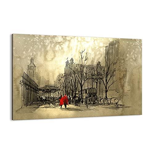 ARTTOR Cuadro sobre Lienzo - Impresión de Imagen - Ciudad Mujer Amante - 120x80cm - Imagen Impresión - Cuadros Decoracion - Impresión en Lienzo - Cuadros Modernos - Lienzo Decorativo - AA120x80-3190