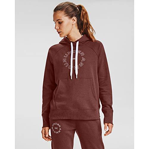Under Armour Women's Rival Fleece Metallic Hoodie , Cinna Red (688)/White , X-Small