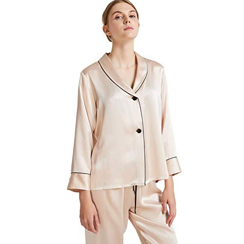 qazxsw Mulberry Silk Long Sleeve Long Pants Two Piece Set Pajamas for Women Lounge Clothes for Woman Loungewear