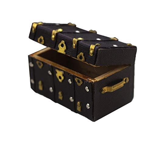 MagiDeal 1/12 1/6 Casa de Muñecas en Miniatura Maleta de Madera Modelo de Equipaje Accesorios Decoración de Juguete - Negro