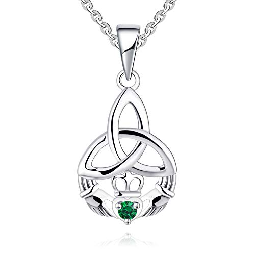 JO WISDOM 925 Sterling Silver Irish Celtic Heart Claddagh Pendant Necklace with Emeral Birthstones