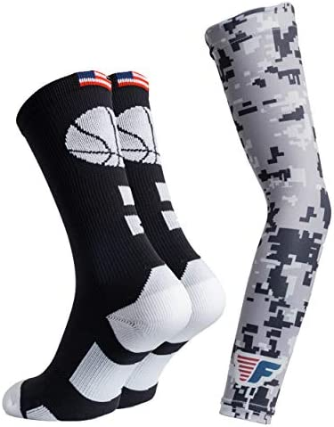 Youth Boys Basketball Socks Sports Athletic Crew Socks with Basketball Arm Sleeve Made in USA product image