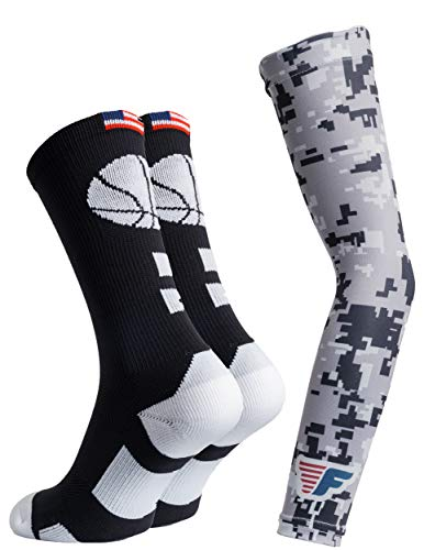 Youth Boys Basketball Socks Sports Athletic Crew Socks with Basketball Arm Sleeve - Made in USA (Ball Black/White, Kids (US 12Y-5))