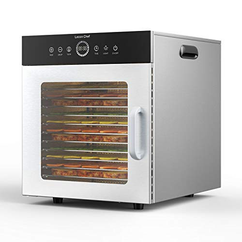 Lecon chef Deshidratador de alimentos comercial, máquina de 400 W de lujo y de acero inoxidable grande, 8 bandejas de termostato...