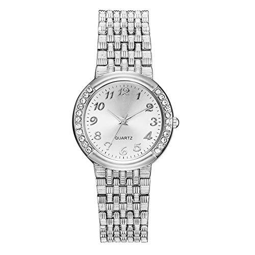 GJHBFUK Reloj Moda Moda Correa De Aleación Casual Rhinestone Dial Dial Reloj Analógico Reloj De Pulsera (Plata)