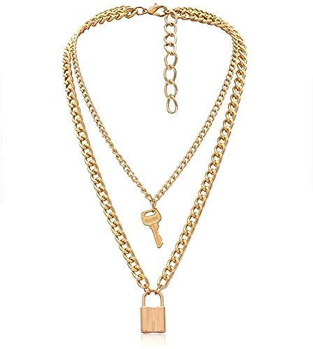 BACKZY MXJP Necklace Punk Lock Key Pendant Choker Miami Cuban Chunky Thick Chain Necklace Jewelry for Women