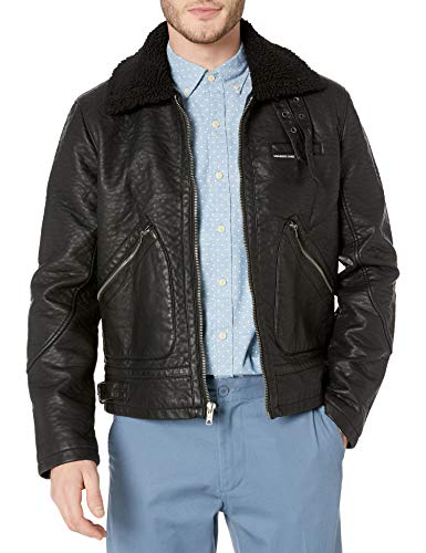 Members Only Men's Military Leather Jacket with Sherpa Collar, Black, XL