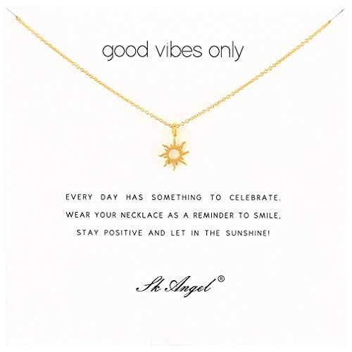 SK Angel Meaning Card Friendship Gold Sun Necklace Good Luck Elephant Pendant Chain Y Necklace with Gift White Card