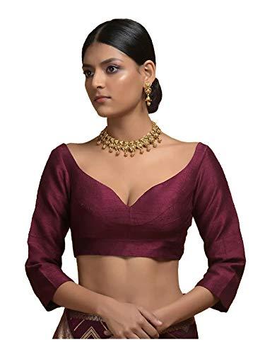 STYLE INSTANT - Camicetta da donna pronta per sarees, design indiano Banglori in seta Bollywood imbottito con cuciture crop top Choli, Vino 2., S