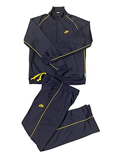Nike Chándal de poliéster completo para hombre 2003 Vintage Original Retro Chaqueta y Pantalones Azul Marino/Amarillo (L)