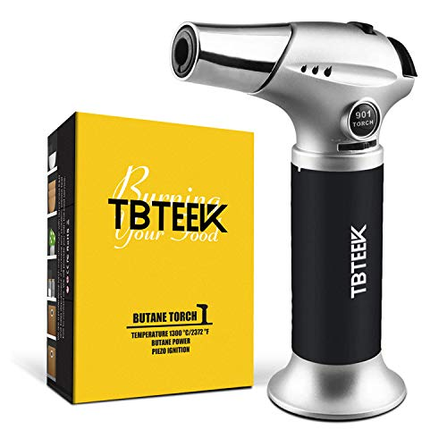 TBTEEK Butane Torch, Kitchen Torch Cooking Torch with Safety Lock & Adjustable Flame for Cooking, BBQ, Baking, Brulee, Creme, DIY Soldering(Butane Not Included)