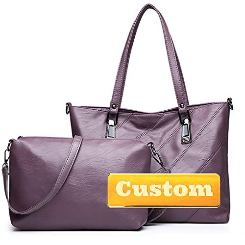 Nombre Personalizado Ladies Bolse y Bolsos Bolsos de Cuero Set sobre el Bolso de Viaje del Hombro Monedero de la manija Superior (Color : Zise, Size : One Size)