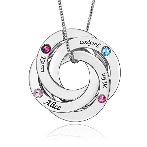 JIN Personalized Disc Necklace Engraved Name Pendant for Women, Personalized Mother Necklace with 4 Names Custom Gifts for Women