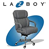 La-Z-Boy Sutherland Quilted Leather Executive Office Chair with Padded Arms, High Back Ergonomic Desk Chair with Lumbar Support, Grey Bonded Leather