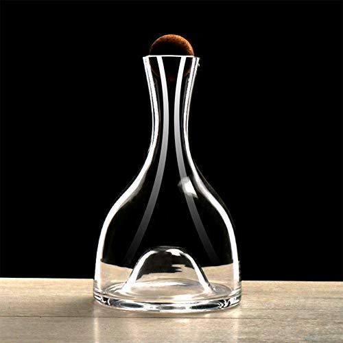 Decantador de vino de cristal cortado con corcho, jarra de cristal, decantador de boca plana de cristal hecho a mano