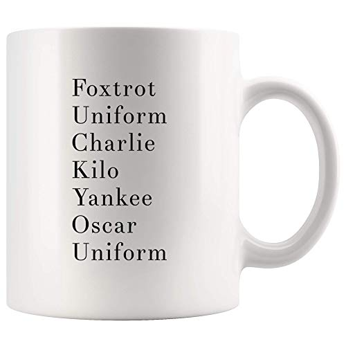Funny Coffee Mug Military Alphabet Novelty Cup 1 Ounces Ceramic Tea Espresso Cups Adult Humor Gag Gift for Soldiers Army Student Husband Wife Boyfriend Girlfriend White Mugs