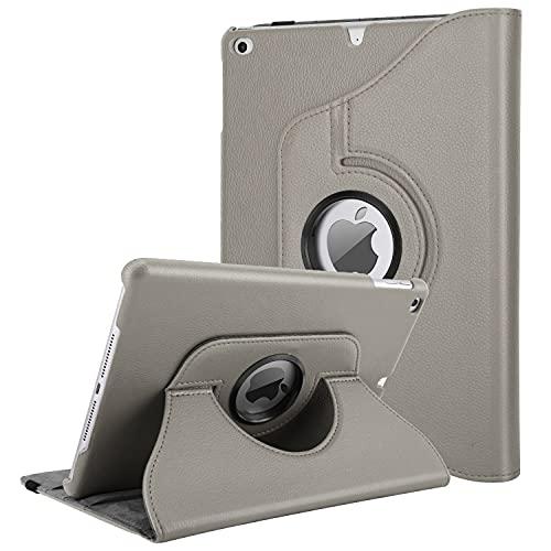 TiMOVO Hülle Geeignet für iPad 9.7 2018/2017, iPad Air 2, iPad Air - 360 Grad Drehung Schutzhülle Lederhülle Drehbar Ständer Auto Schlaf/Aufwach für Apple iPad 5/6th Gen/iPad Air 1/2 - Raum Grau