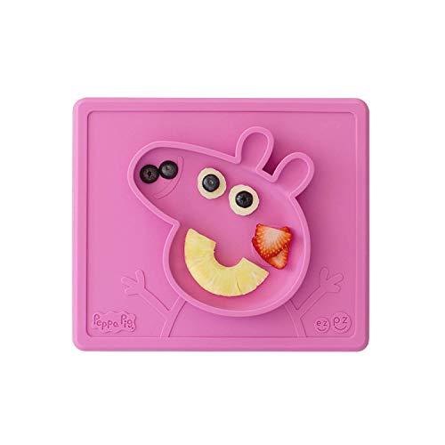EZPZ Peppa Pig Mat 12 meses +. Plato 100% de silicona con mantel individual incorporado para bebés y niños pequeños. Rosa