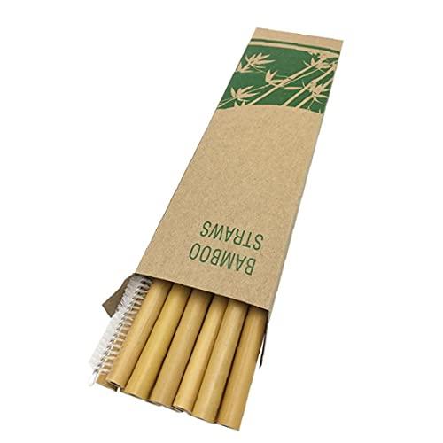 fedsjuihyg Pajas Pajas De Bambú Orgánico De Bambú Natural Pajitas Beber con El Caso De Almacenamiento para Partido De La Barra Inicio Amarillo 20pcs Gadget Útil