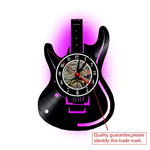 Meet Beauty Ding Unieke Musical Gitar Record Vinyl wandklokken handgemaakte DIY - Creatieve LED-lamp met 7 kleuren achtergrond licht afstandsbediening wandlamp nacht 30X30cm rond zwart