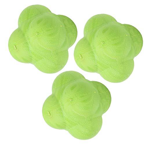 FOLOSAFENAR Pelota de Entrenamiento de reacción Duradera tamaño pequeño, 3 uds, para béisbol, Hockey, fútbol(Green)