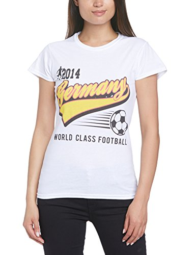 Football Fan World Cup Football 2014 Germany Script Womens T-Shirt Camiseta, Blanco, 46 para Mujer